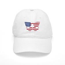 American Flag Mustache Face Baseball Cap