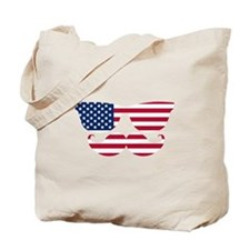 American Flag Mustache Face Tote Bag