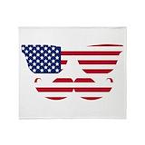 America mustache Blankets