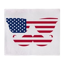 American Flag Mustache Face Throw Blanket