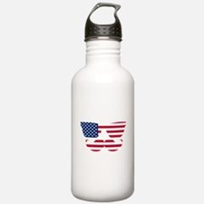 American Flag Mustache Face Sports Water Bottle