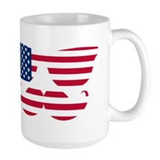 American Flag Mustache Face Mugs