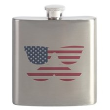 American Flag Mustache Face Flask