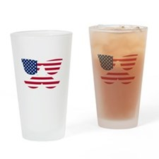 American Flag Mustache Face Drinking Glass