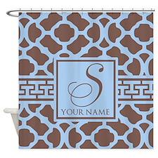 Teal Coffee Geometric Pattern Shower Curtain