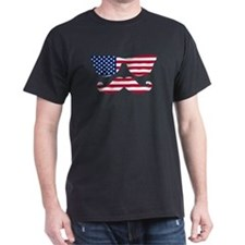 American Flag Mustache Face T-Shirt