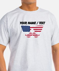 Custom American Flag Mustache Face T-Shirt