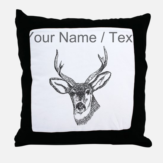 Custom Stag Sketch Throw Pillow