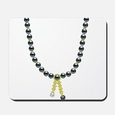 Golden Tassel Black Pearl Necklace Mousepad