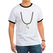 Golden Tassel Black Pearl Necklace T-Shirt