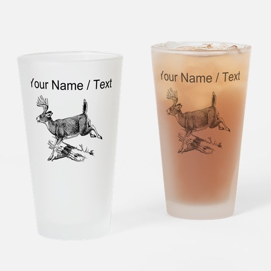 Custom White Tail Buck Sketch Drinking Glass