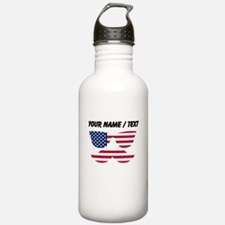 Custom American Flag Mustache Face Sports Water Bo