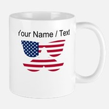 Custom American Flag Mustache Face Mugs