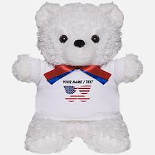 Custom American Flag Mustache Face Teddy Bear