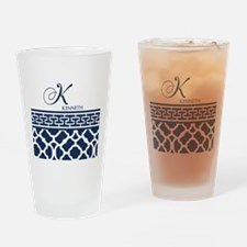 Navy Blue Quatrefoil Pattern Drinking Glass