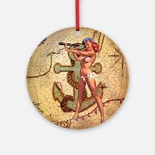 nautical  beach girl Round Ornament