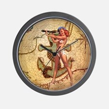 nautical  beach girl Wall Clock