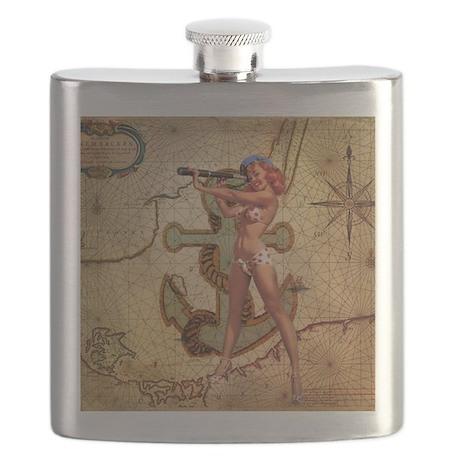 nautical beach girl Flask