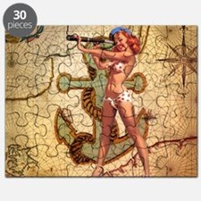 nautical  beach girl Puzzle