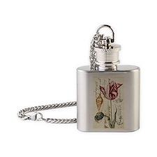 vintage tulip botanical art Flask Necklace