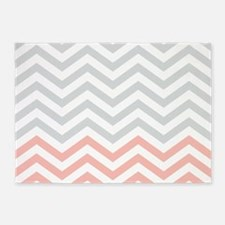 Grey and pink chevrons 2 5'x7'Area Rug