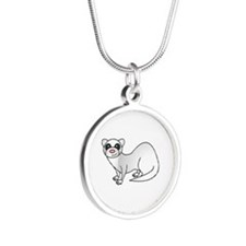 Cute Ferret with Silver Coat Necklaces