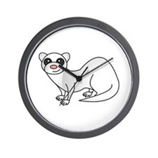 Cute Ferret with Silver Coat Wall Clock