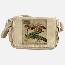 vintage orchid botanical art Messenger Bag