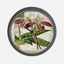 vintage orchid botanical art Wall Clock