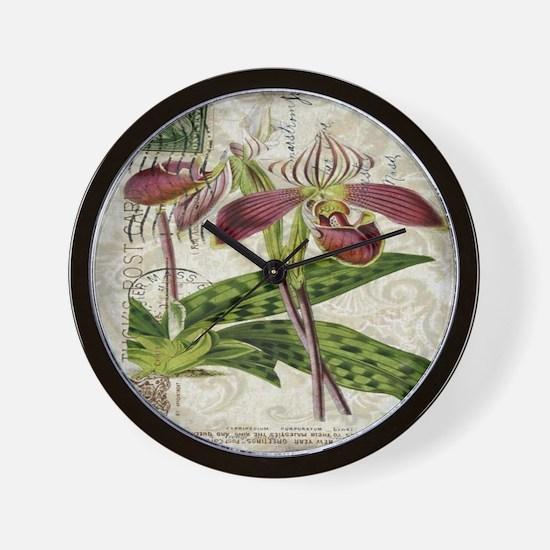vintage orchid botanical art Wall Clock