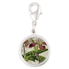 vintage orchid botanical art Silver Round Charm