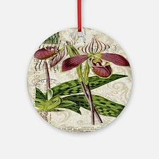 vintage orchid botanical art Round Ornament