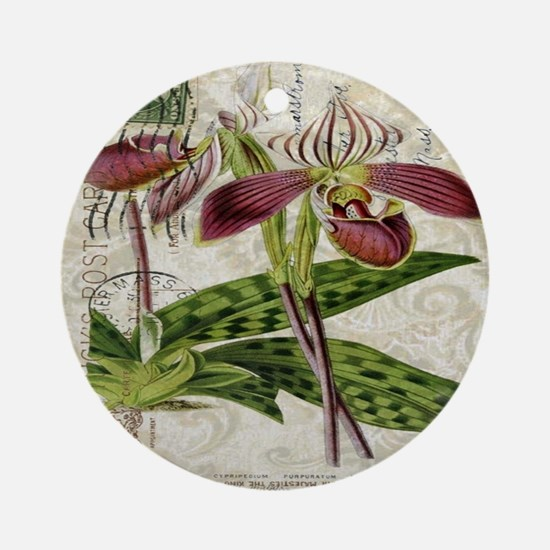 vintage orchid botanical art Round Ornament