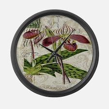 vintage orchid botanical art Large Wall Clock