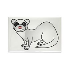 Cute Ferret with Silver Coat Magnets