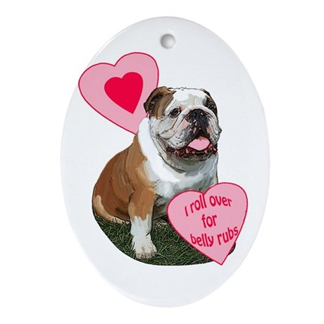 bulldog kisses Oval Ornament