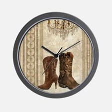 cowboy boots western country Wall Clock