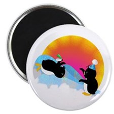 "Penguins Sliding 2.25"" Magnet (100 pack)"