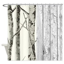 barnwood birch tree western country Shower Curtain