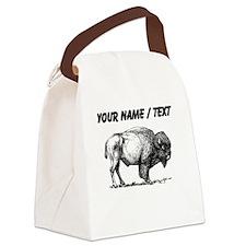 Custom Bison Sketch Canvas Lunch Bag