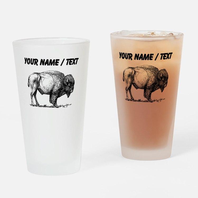 Custom Bison Sketch Drinking Glass