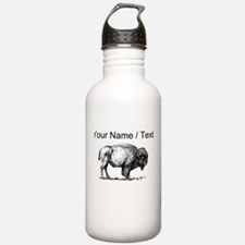 Custom Bison Sketch Water Bottle