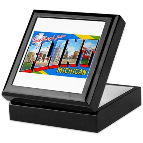 Flint Michigan Greetings Keepsake Box