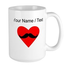 Custom Mustache Heart Mugs