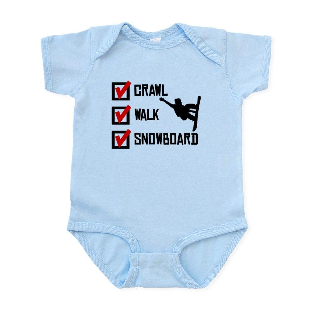987705393 CafePress Crawl Walk Snowboard Body Suit Baby Bodysuit