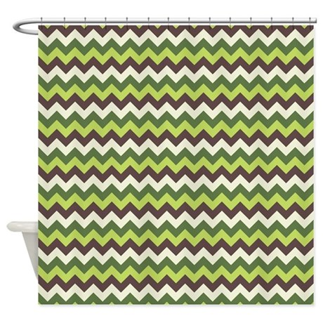 Green Brown Cream Chevron Shower Curtain By Nature Tees