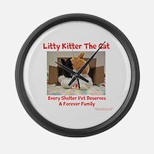 Litty Kitter - Shelter Pet Large Wall Clock