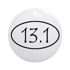 Black 13.1 Oval Christmas Ornament (Round)