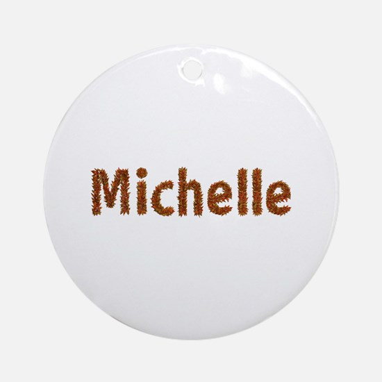 Michelle Fall Leaves Round Ornament