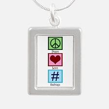 Peace Love Hashtags Silver Portrait Necklace